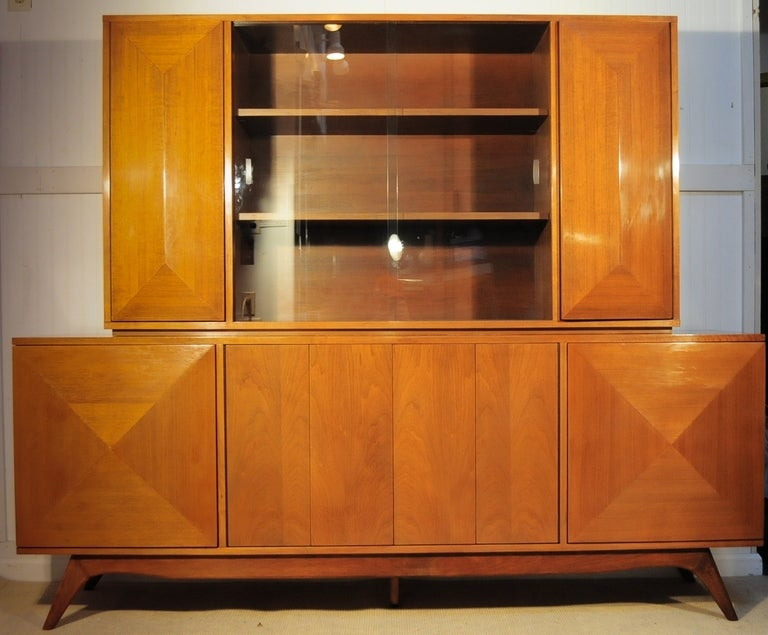 3 Dimensional Diamond Front 2 Piece Credenza Cabinet after Vladimir Kagan image 2