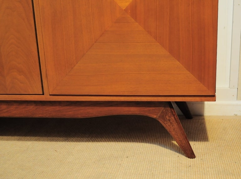 3 Dimensional Diamond Front 2 Piece Credenza Cabinet after Vladimir Kagan image 4