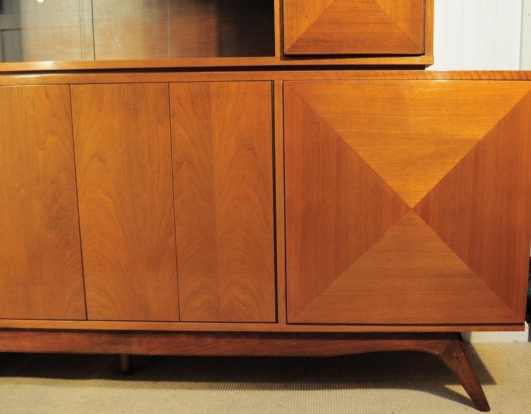 3 Dimensional Diamond Front 2 Piece Credenza Cabinet after Vladimir Kagan 5