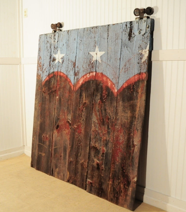 19th C Bucks County Pa Weathered Patriotic Painted American Flag Farm Barn Door At 1stdibs