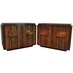 Mid Century Modern Brutalist Style Walnut Nightstands by Lane after Paul Evans