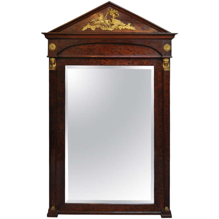 Large French Empire Regency Style Bronze Ormolu Burl Wood Pier Mirror Figural For Sale