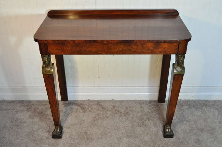 Superior 19th Century French Empire Figural Flame Mahogany One Drawer Console Hall  Table 2