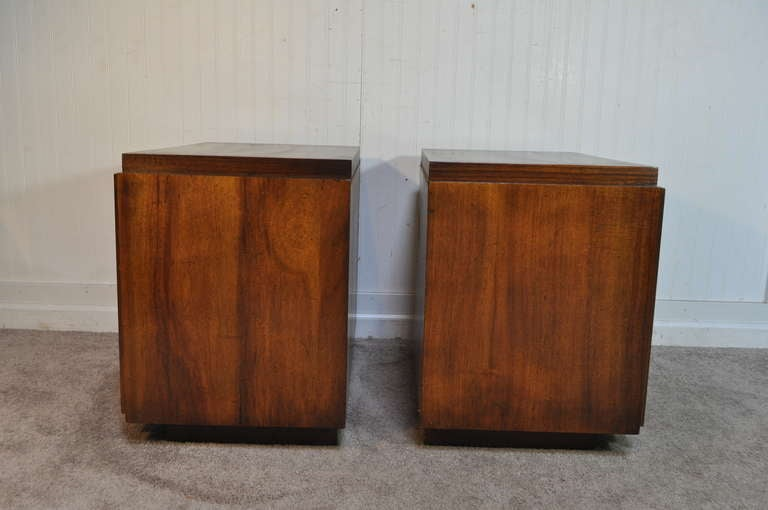 Mid Century Modern Brutalist Style Walnut Nightstands by Lane after Paul Evans In Good Condition In Philadelphia, PA
