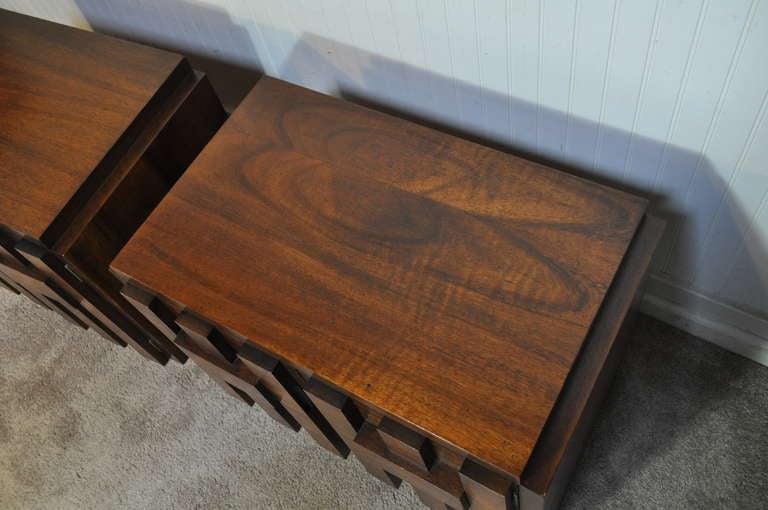 Mid Century Modern Brutalist Style Walnut Nightstands by Lane after Paul Evans 3