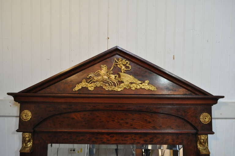 Large French Empire Regency Style Bronze Ormolu Burl Wood Pier Mirror Figural In Good Condition For Sale In Philadelphia, PA