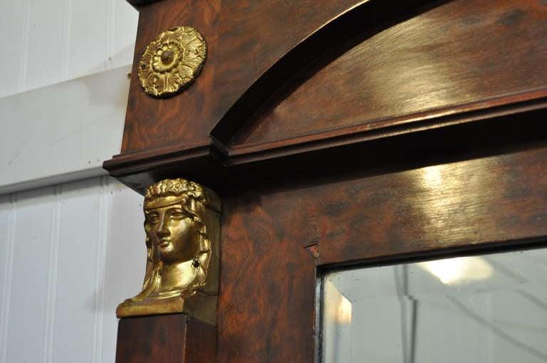 Large French Empire Regency Style Bronze Ormolu Burl Wood Pier Mirror Figural For Sale 3