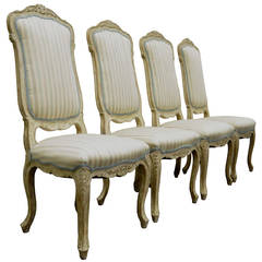 4 Carved Swedish Rococo or French Louis XV Style Painted Dining Chairs