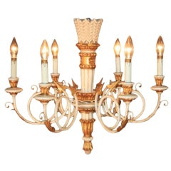 1950s Carved Giltwood Italian Neoclassical Style Gold and White Arrow Chandelier