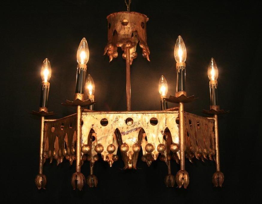 Vintage Gold Italian Tole Gilt Metal Gothic Chandelier