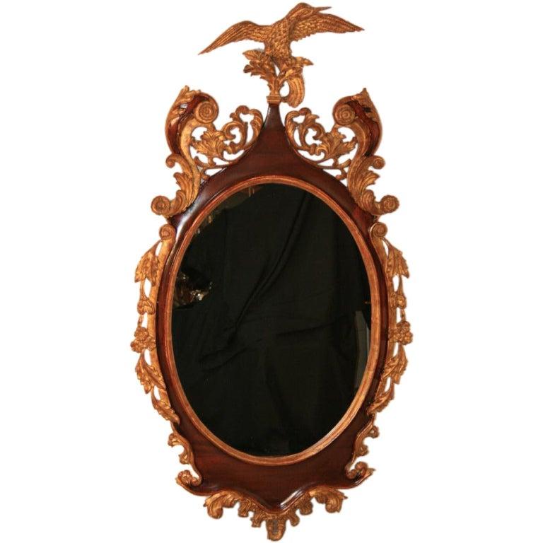 Large American Federal Style Mahogany & Gilt Wood Mallard Mirror
