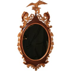 "Large American Federal Style 60"" Oval Mahogany & Gilt Wood Mallard Duck Mirror"