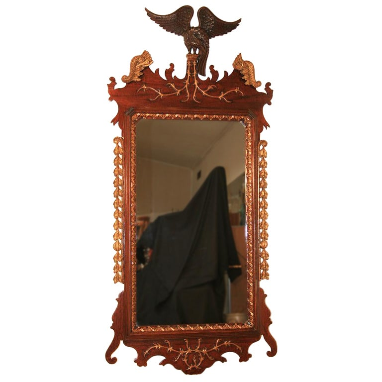 Large American Federal Style Mahogany and Gilt Wood Eagle Mirror