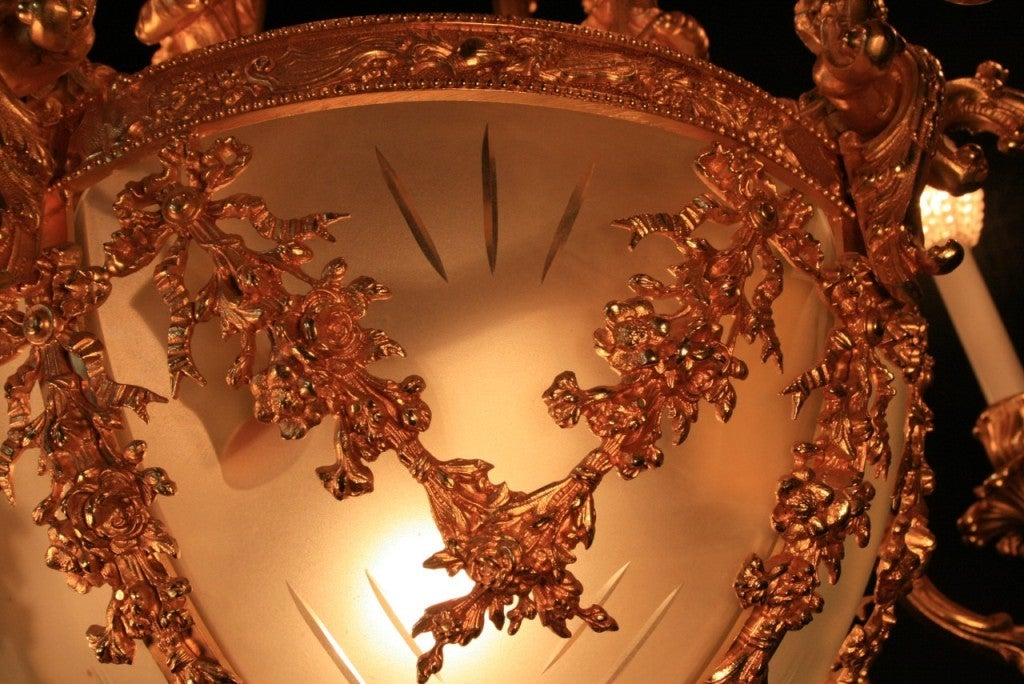 French Rococo Style Dore Bronze Chandelier W Angels Made