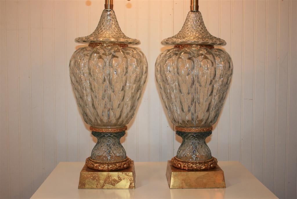 Large Pair of Blue Murano Crystal Glass Table Lamps by Marbro Hollywood Regency In Excellent Condition For Sale In Philadelphia, PA