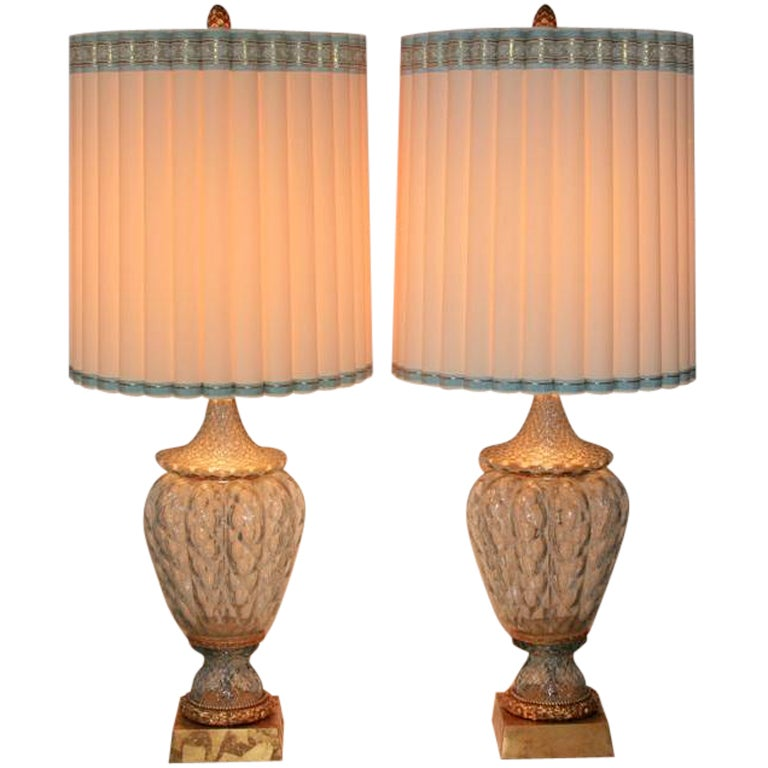 large pair of blue murano crystal glass table lamps by marbro hollywood regency 1