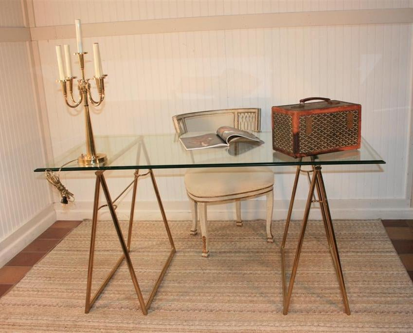 Elegant Vintage Beveled Glass Top Desk Featuring Stretcher Form Brass Plated Metal Sawhorse Bases Very
