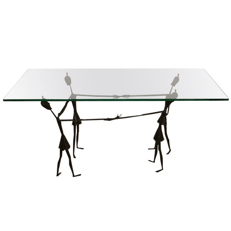 Giacometti style wrought iron figural glass top cocktail for Wrought iron and glass top coffee table