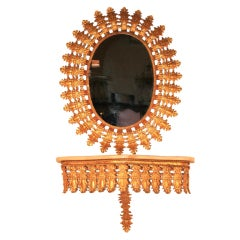 Italian Hollywood Regemcy Gold Gilt Metal Sunburst Wall Mirror & Console Table