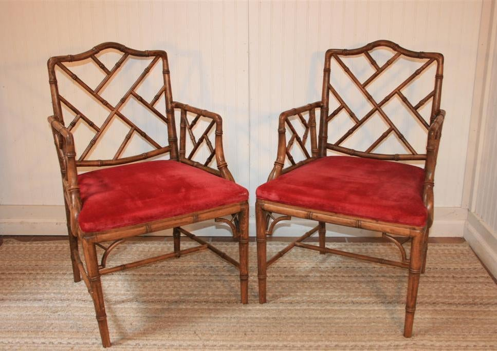Set of 6 hollywood regency faux bamboo dining chairs w 2 arms at 1stdibs for Regency furniture living room sets