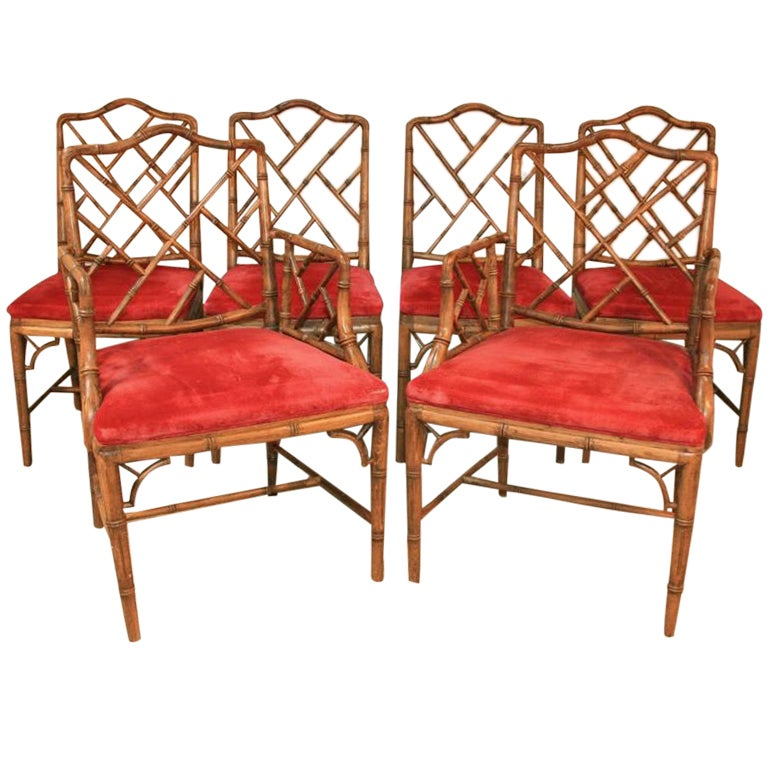 Set Of 6 Hollywood Regency Faux Bamboo Dining Chairs W/ 2