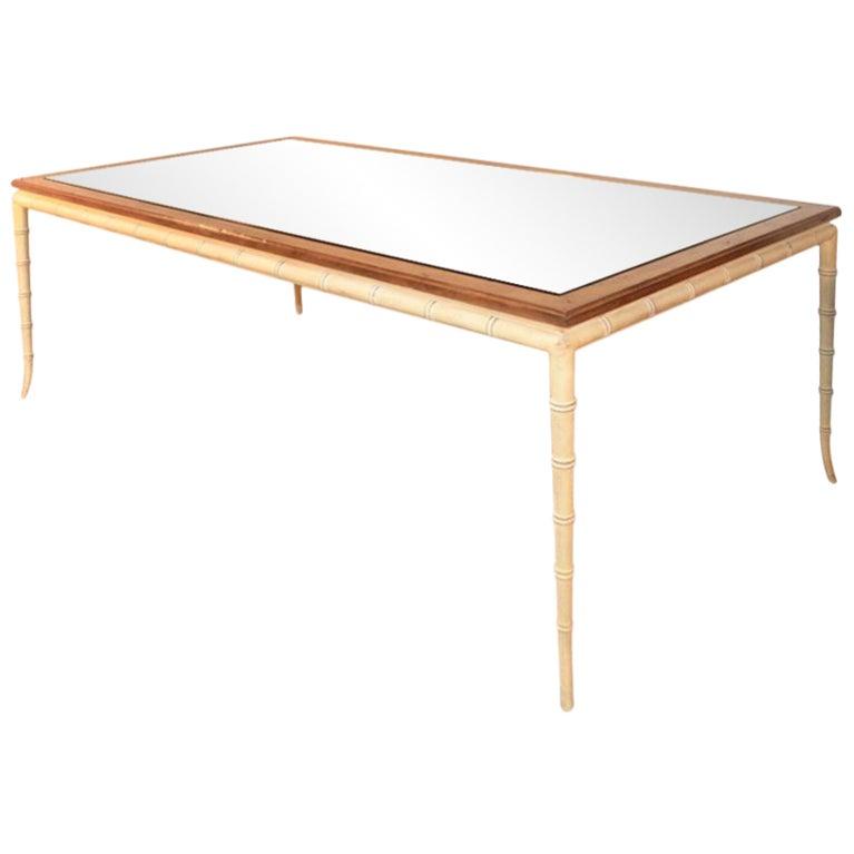 vintage 84 inch hollywood regency faux bamboo dining table at 1stdibs. Black Bedroom Furniture Sets. Home Design Ideas