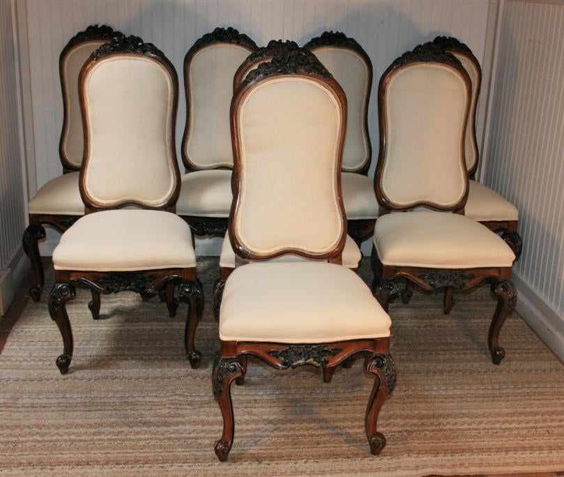 1960s set of 8 baroque style carved dining chairs karges for Baroque style dining chairs