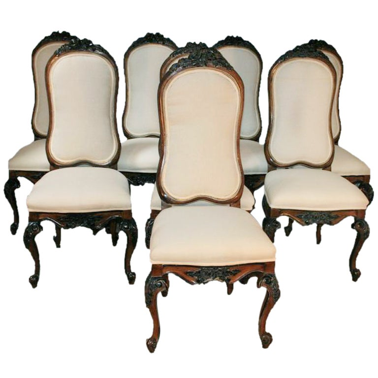 Quality Dining Room Chairs: 1960s Set Of 8 Baroque Style Carved Dining Chairs Karges