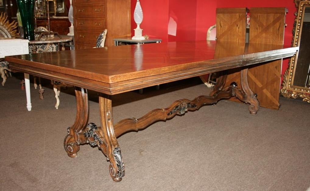 Baroque style carved parquet top dining table karges for Best quality dining tables
