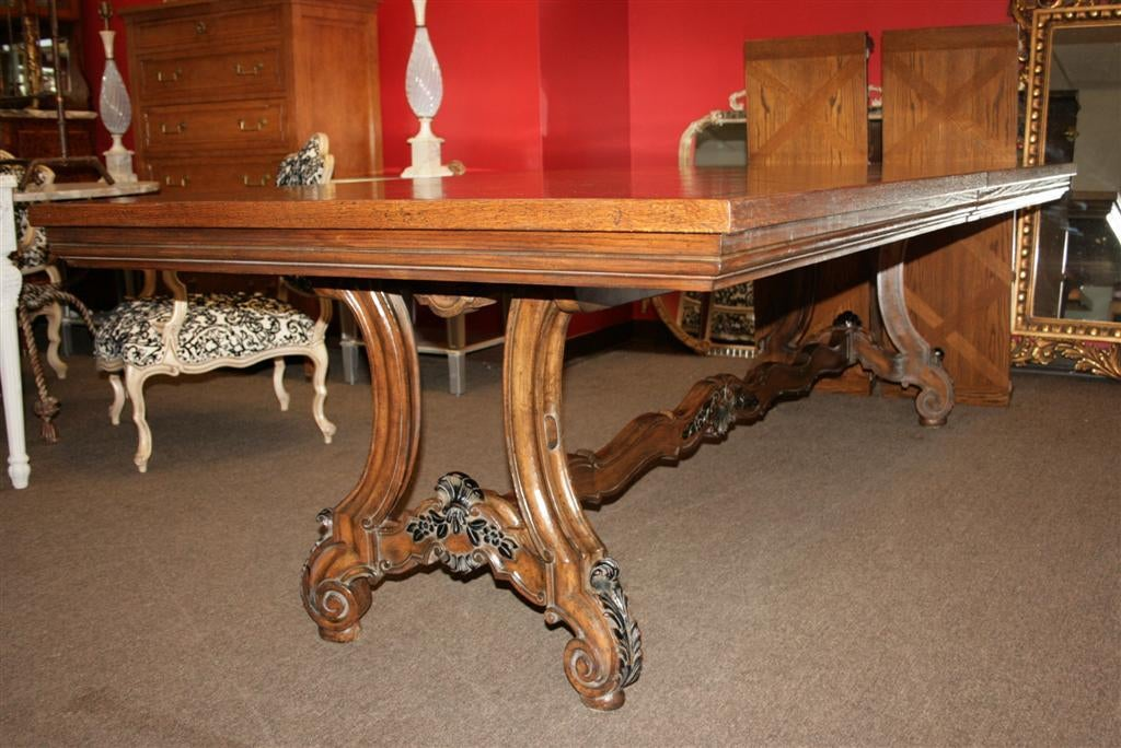 Large French Country Oak Parquetry Top Extension Dining Table Louis XV Style