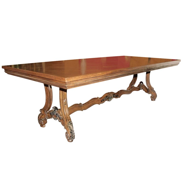 Baroque style carved parquet top dining table karges for Dining room tables quality