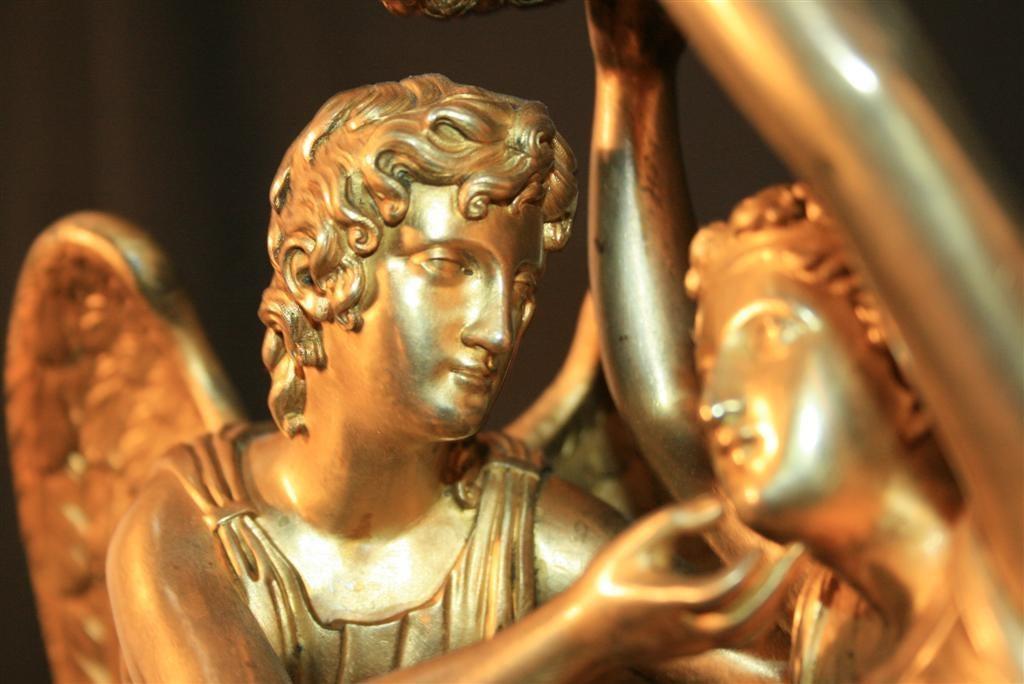 19th Century French Empire Gilt Dore Bronze Figural Amour & Psyche Mantel Clock For Sale 7