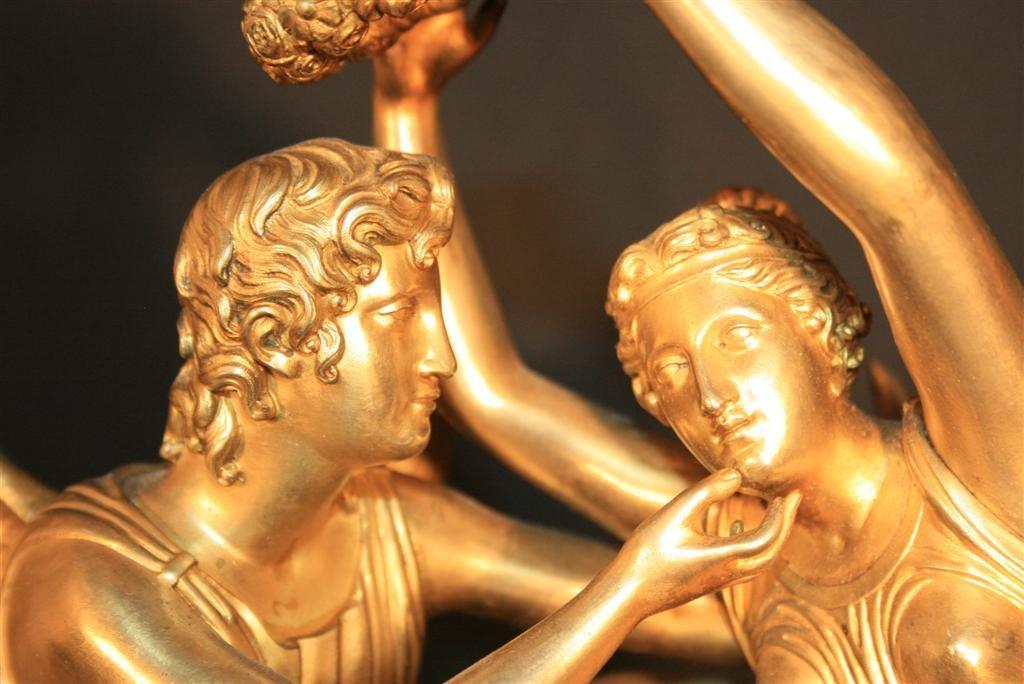19th Century French Empire Gilt Dore Bronze Figural Amour & Psyche Mantel Clock For Sale 1