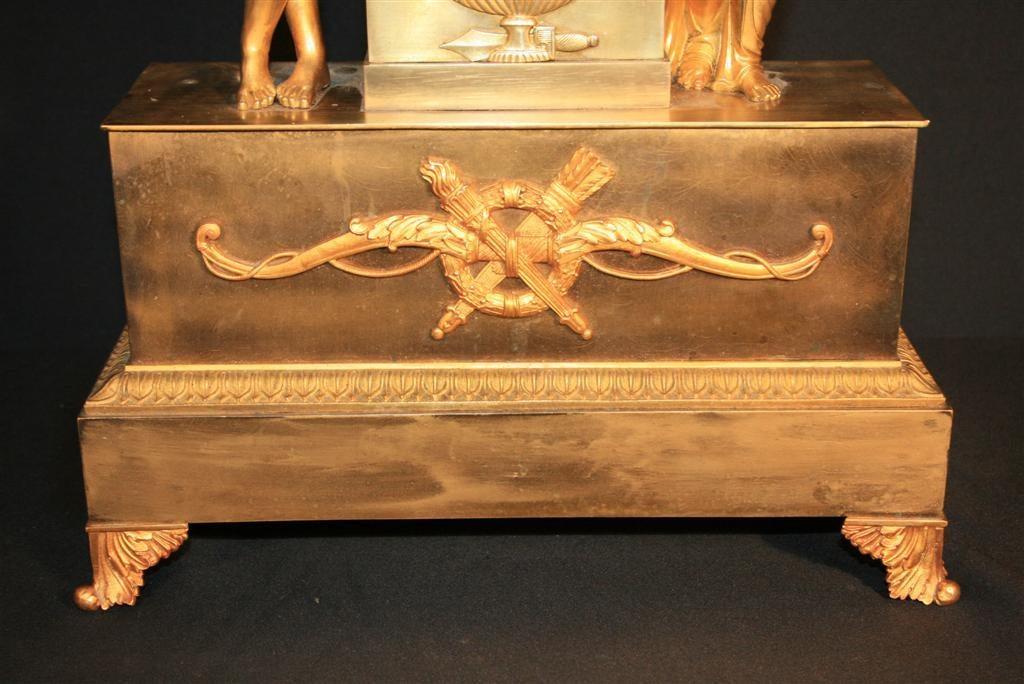 19th Century French Empire Gilt Dore Bronze Figural Amour & Psyche Mantel Clock For Sale 4