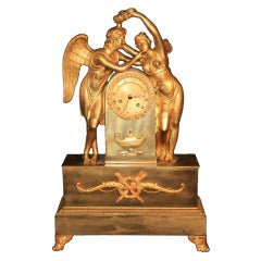 19th Century French Empire Gilt Dore Bronze Figural Amour & Psyche Mantel Clock