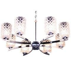 Kaiser Leuchten Thousand Eyes Glass Shades Chrome Chandelier, Mid-Century Modern