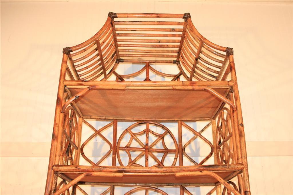 Vintage Medallion Design Pagoda Top Bamboo Etagere At 1stdibs