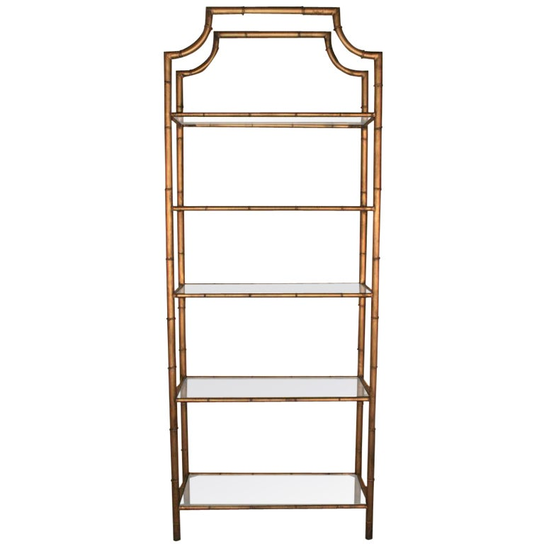 hollywood regency gilt metal faux bamboo pagoda etagere at 1stdibs. Black Bedroom Furniture Sets. Home Design Ideas