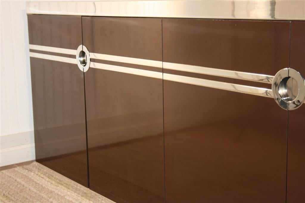 pierre cardin chocolate brown and chrome 4 door credenza