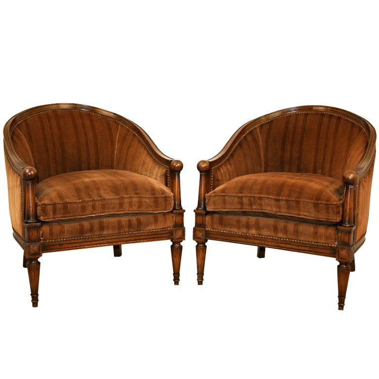 Superior Pair 1950u0027s Neoclassical Style Ball Form Barrel Back Club Chairs 1