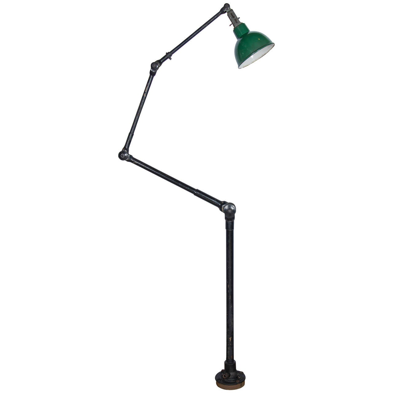 Vintage industrial articulated floor light with enamel for Led articulated floor lamp