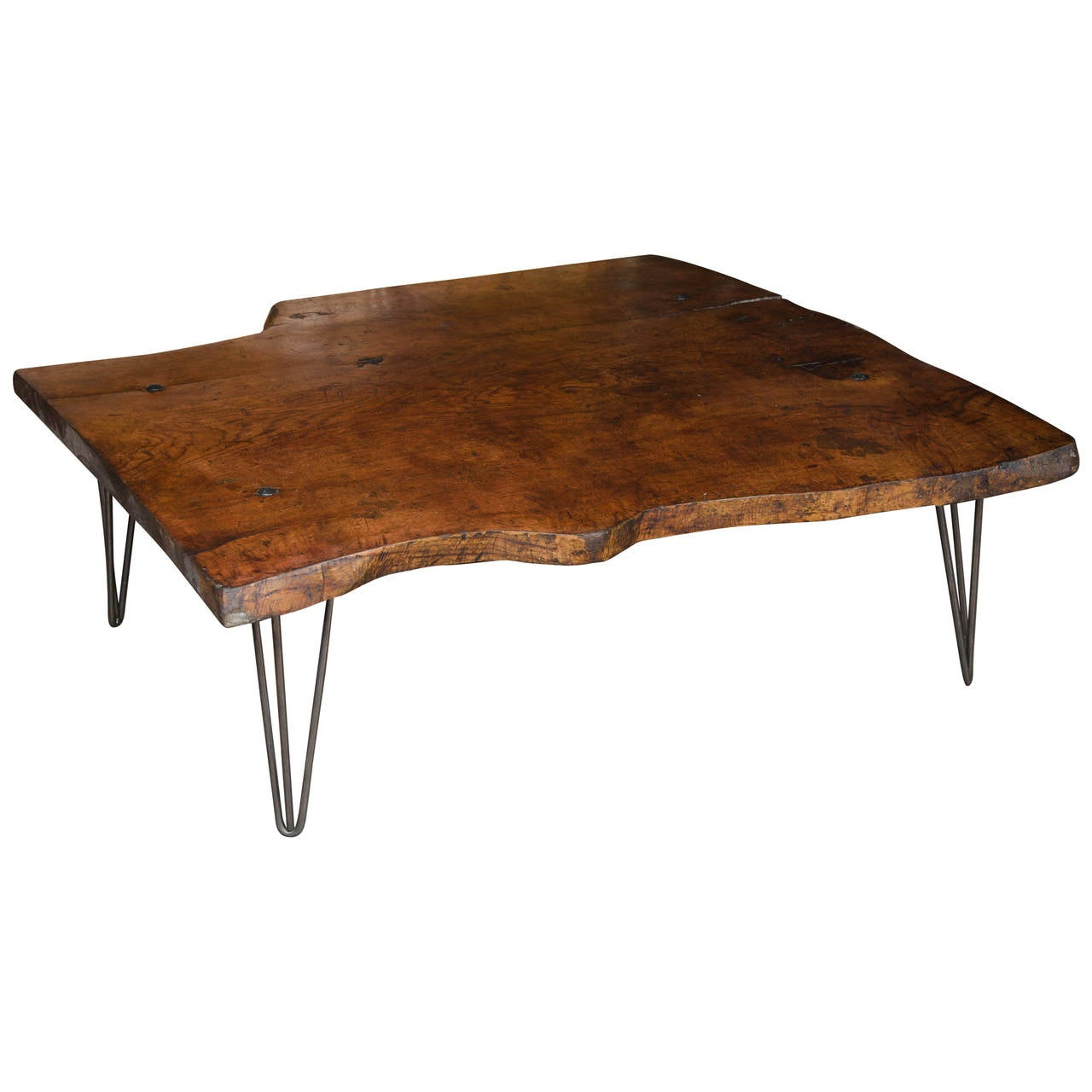 Solid Elm Coffee Table With Hairpin Legs At 1stdibs