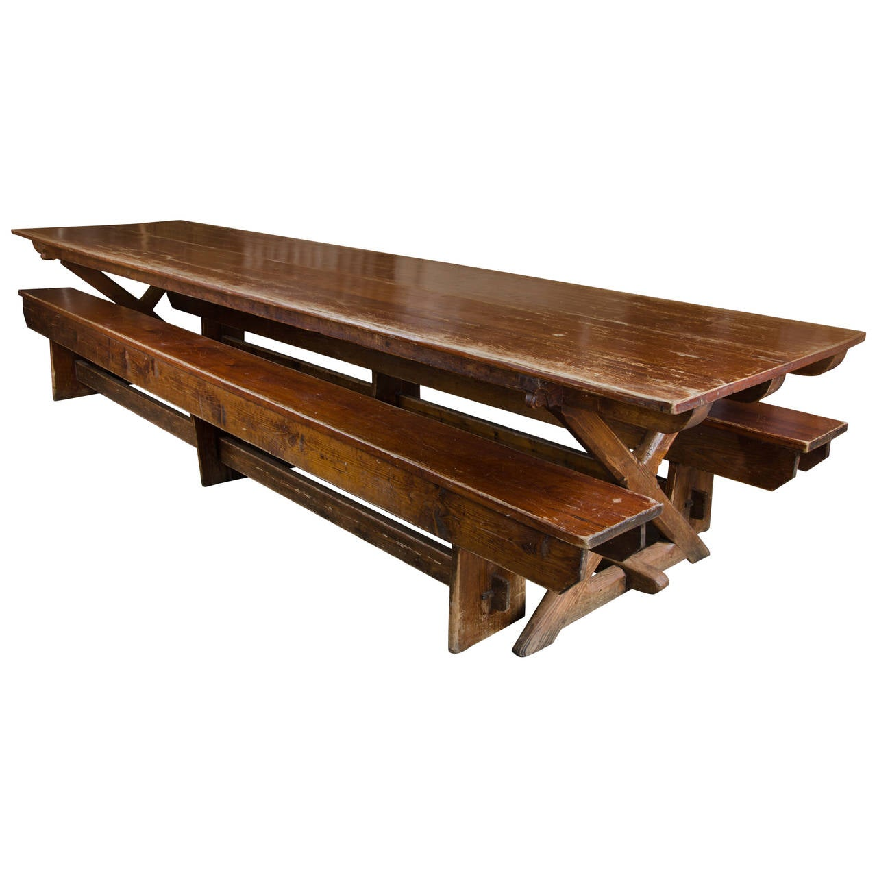 Reclaimed long dining tables and benches at 1stdibs for Long dining table