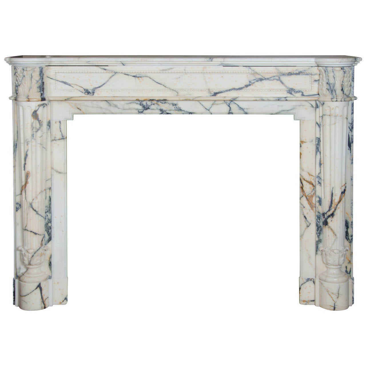 antique french louis xvi pavonazzo marble fireplace