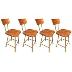 Vintage Industrial Adjustable Wood Metal Steel Stool Chair