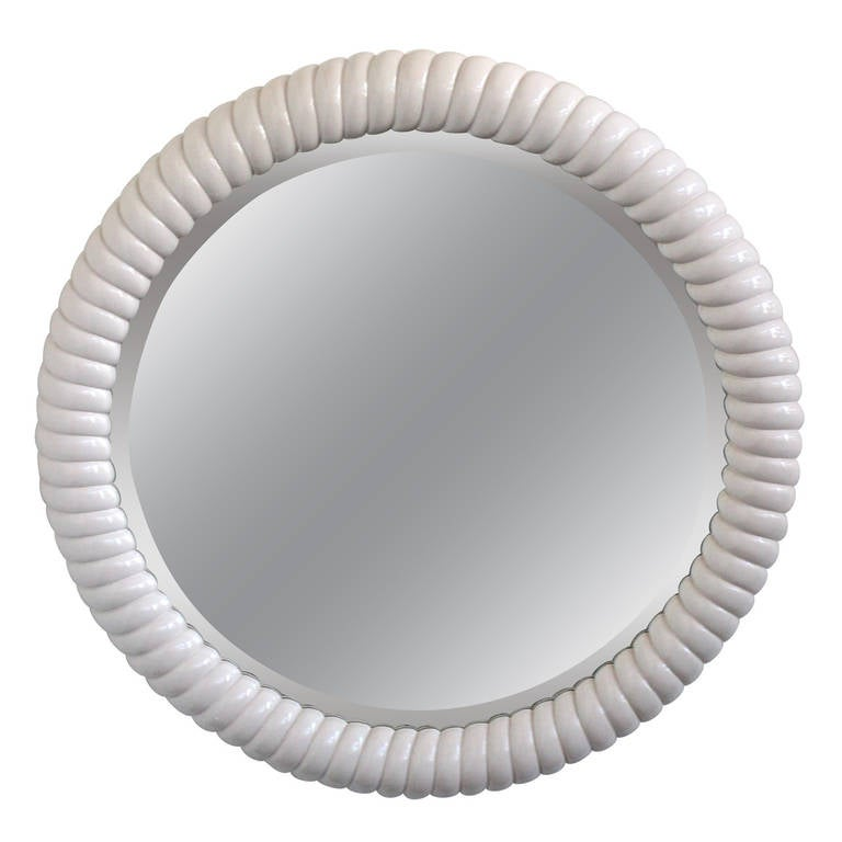 large lacquered round mirror for sale at 1stdibs