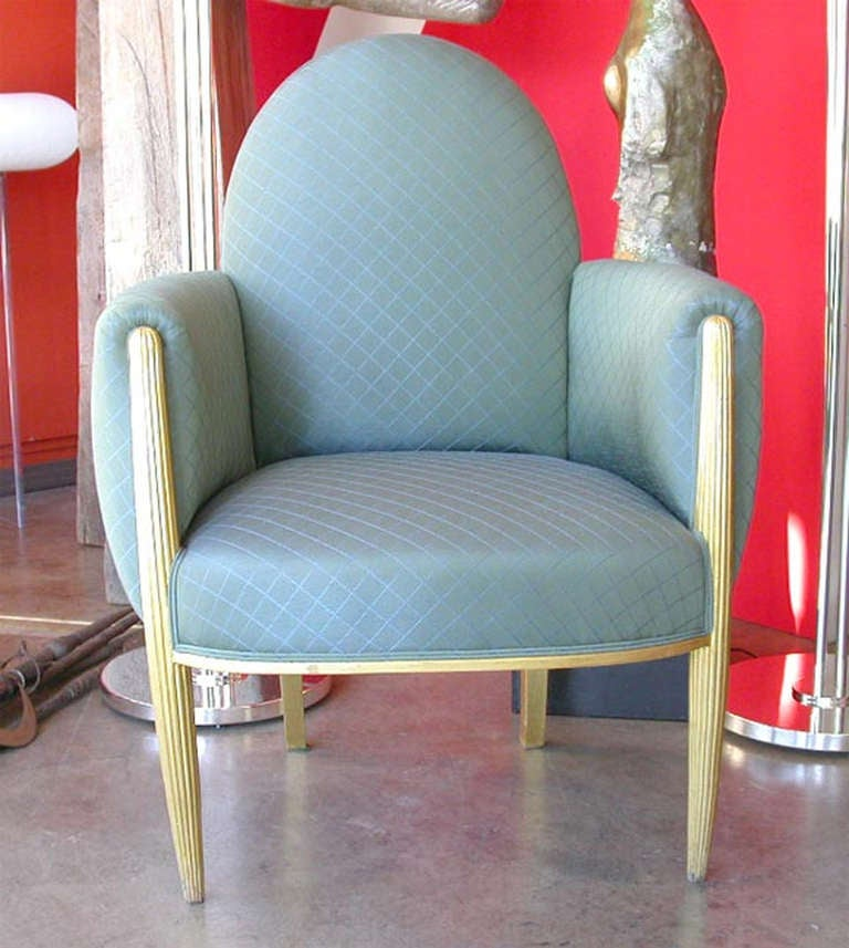 French Art Deco Lounge Chairs. France Circa 1940 An Art Deco Giltwood Pair  Of Lounge