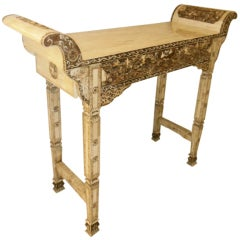 Console-altar Table  In Sculpted Bone