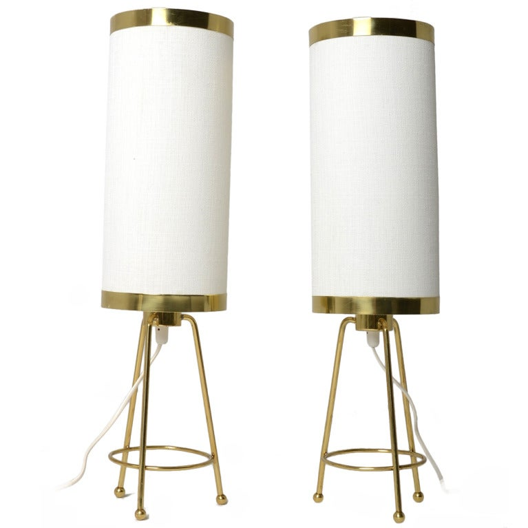 Pair Of Paavo Tynell Brass Banded Table Lamps For Taito