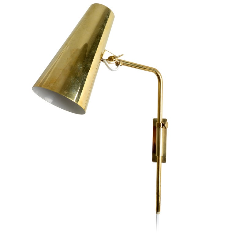 Brass Wall Sconces Lighting : Paavo Tynell Brass Wall Lamp for Idman at 1stdibs